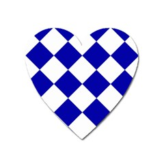 Harlequin Diamond Pattern Cobalt Blue White Heart Magnet by CrypticFragmentsColors