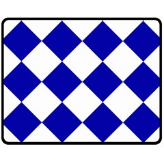 Harlequin Diamond Pattern Cobalt Blue White Double Sided Fleece Blanket (medium)  by CrypticFragmentsColors