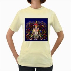 Robot Butterfly Women s Yellow T Shirt by icarusismartdesigns