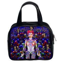 Robot Butterfly Classic Handbags (2 Sides) by icarusismartdesigns