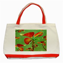 Tropical Floral Print Classic Tote Bag (red)  by dflcprints