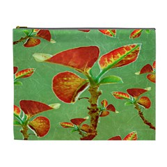Tropical Floral Print Cosmetic Bag (xl) by dflcprints