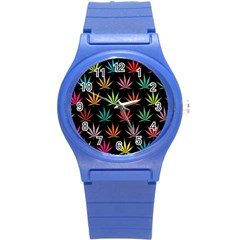 Cannabis Leaf Multi Col Pattern Round Plastic Sport Watch (s) by ScienceGeek