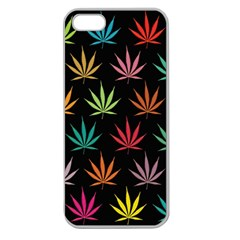 Cannabis Leaf Multi Col Pattern Apple Seamless Iphone 5 Case (clear) by ScienceGeek