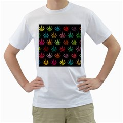 Cannabis Leaf Multi Col Pattern Men s T Shirt (white)  by ScienceGeek