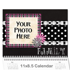 2016 Black White And Pink Calendar By Lisa Minor   Wall Calendar 11  X 8 5  (12 Months)   J1hwxw56pk2t   Www Artscow Com Cover