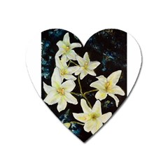 Bright Lilies Heart Magnet by timelessartoncanvas