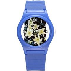 Bright Lilies Round Plastic Sport Watch (s) by timelessartoncanvas