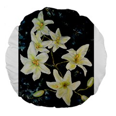 Bright Lilies Large 18  Premium Flano Round Cushions by timelessartoncanvas