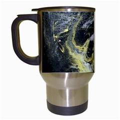 Black Ice Travel Mugs (white) by timelessartoncanvas