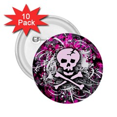 Pink Skull Splatter 2 25  Buttons (10 Pack)  by ArtistRoseanneJones