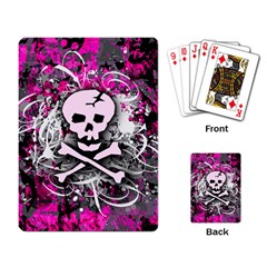 Pink Skull Splatter Playing Card by ArtistRoseanneJones