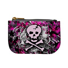 Pink Skull Splatter Mini Coin Purses by ArtistRoseanneJones