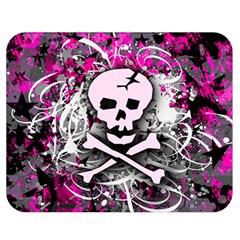 Pink Skull Splatter Double Sided Flano Blanket (medium)  by ArtistRoseanneJones