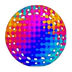 Totally Trippy Hippy Rainbow Ornament (round Filigree)  by KirstenStar