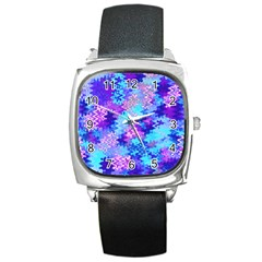 Blue And Purple Marble Waves Square Metal Watches by KirstenStar