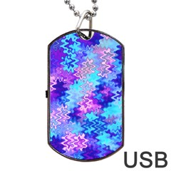 Blue And Purple Marble Waves Dog Tag Usb Flash (two Sides)  by KirstenStar