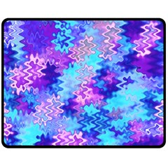 Blue And Purple Marble Waves Double Sided Fleece Blanket (medium)  by KirstenStar