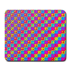 Crazy Yellow And Pink Pattern Large Mousepads by KirstenStar