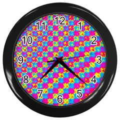 Crazy Yellow And Pink Pattern Wall Clocks (black) by KirstenStar