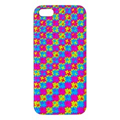 Crazy Yellow And Pink Pattern Apple Iphone 5 Premium Hardshell Case by KirstenStar