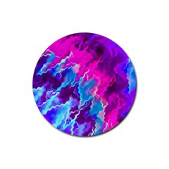 Stormy Pink Purple Teal Artwork Rubber Round Coaster (4 Pack)  by KirstenStar