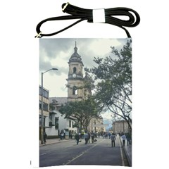Cathedral At Historic Center Of Bogota Colombia Edited Shoulder Sling Bags by dflcprints