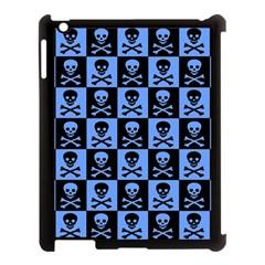 Blue Skull Checkerboard Apple Ipad 3/4 Case (black) by ArtistRoseanneJones