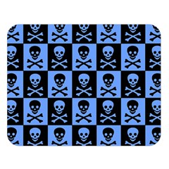 Blue Skull Checkerboard Double Sided Flano Blanket (large)  by ArtistRoseanneJones