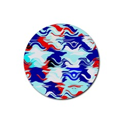 Wavy Chaos Rubber Round Coaster (4 Pack) by LalyLauraFLM