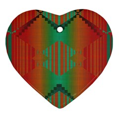 Striped Tribal Pattern Heart Ornament (two Sides) by LalyLauraFLM