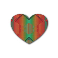 Striped Tribal Pattern Rubber Coaster (heart) by LalyLauraFLM