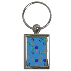 Circles And Snowflakes Key Chain (rectangle) by LalyLauraFLM