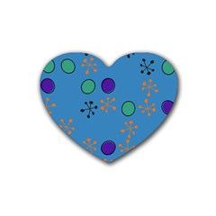 Circles And Snowflakes Rubber Coaster (heart) by LalyLauraFLM