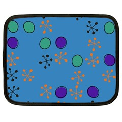 Circles and snowflakes Netbook Case (XL) by LalyLauraFLM