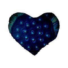 Blue Plant Standard 16  Premium Flano Heart Shape Cushions by InsanityExpressedSuperStore