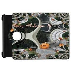Creepy Pumpkin Fractal Kindle Fire HD Flip 360 Case by gothicandhalloweenstore