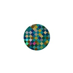 Rhombus Pattern In Retro Colors 1  Mini Button by LalyLauraFLM