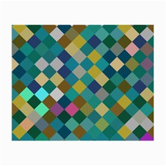 Rhombus Pattern In Retro Colors Small Glasses Cloth (2 Sides) by LalyLauraFLM