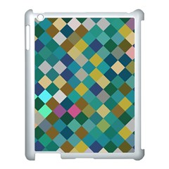 Rhombus Pattern In Retro Colors Apple Ipad 3/4 Case (white) by LalyLauraFLM