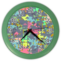 Pastel Scattered Pieces Color Wall Clock by LalyLauraFLM