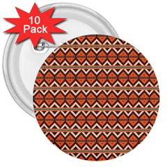 Brown Orange Rhombus Pattern 3  Button (10 Pack) by LalyLauraFLM