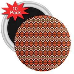 Brown Orange Rhombus Pattern 3  Magnet (10 Pack) by LalyLauraFLM