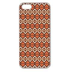 Brown Orange Rhombus Pattern Apple Seamless Iphone 5 Case (clear) by LalyLauraFLM