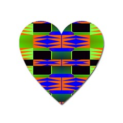 Distorted Shapes Pattern Magnet (heart) by LalyLauraFLM