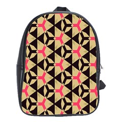 Shapes In Triangles Pattern School Bag (large) by LalyLauraFLM