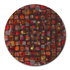 Floating Squares Round Mousepad by LalyLauraFLM