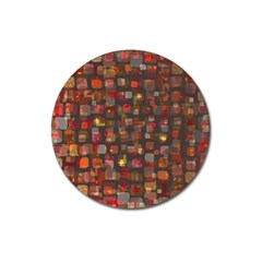 Floating squares Magnet 3  (Round) by LalyLauraFLM