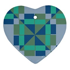 Green Blue Shapes Ornament (heart) by LalyLauraFLM