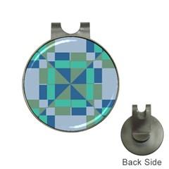 Green blue shapes Golf Ball Marker Hat Clip by LalyLauraFLM